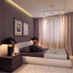 Черные лампы у кровати