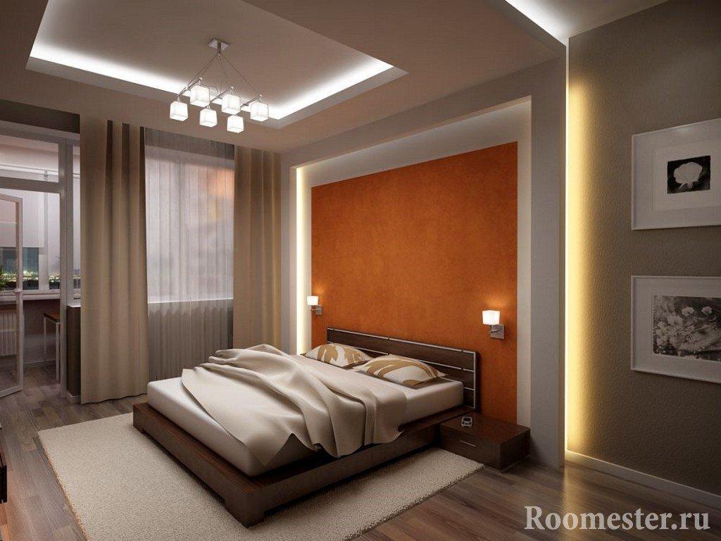 Дизайн спальни с подсветкой