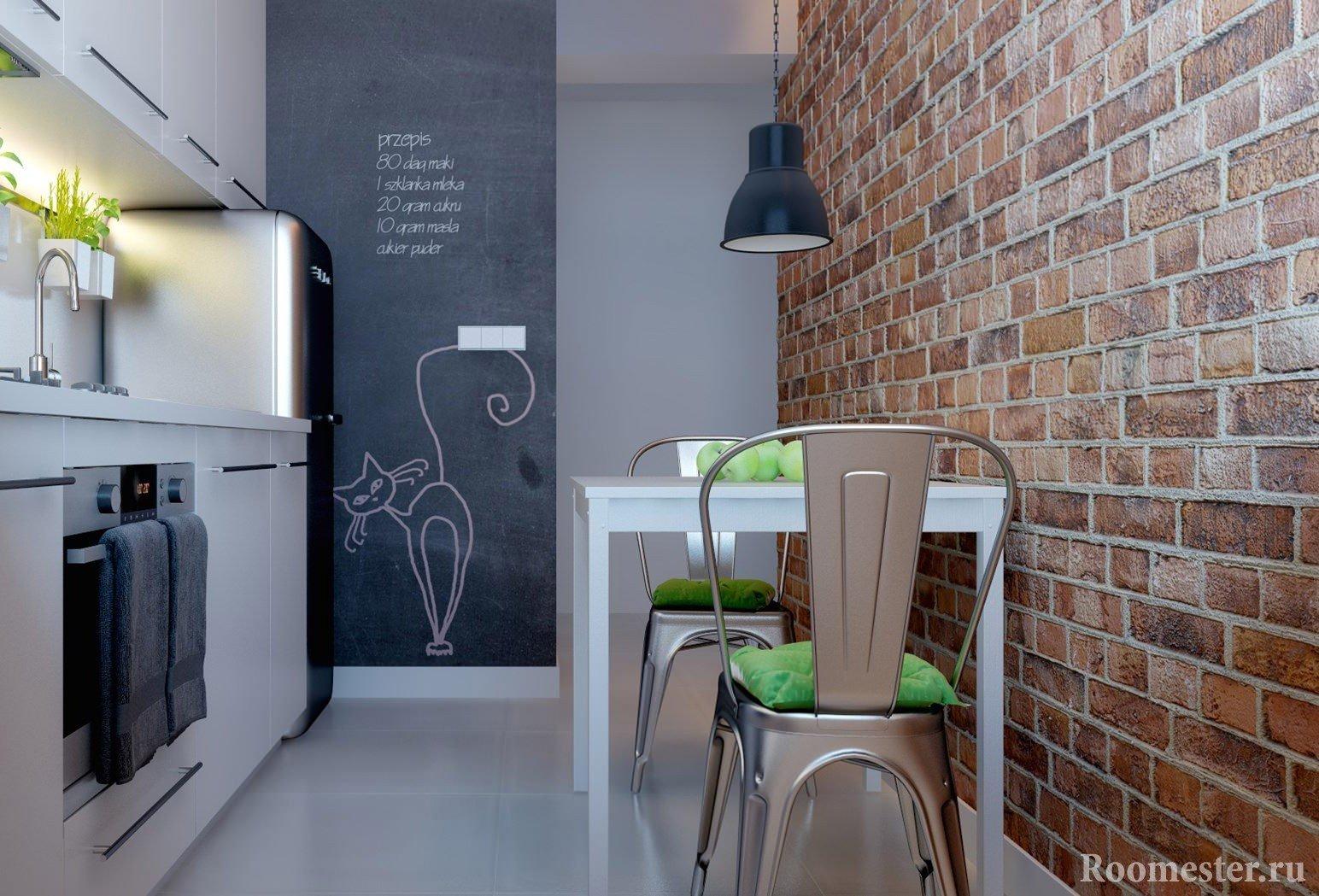 Стена с декором под кирпич на кухне