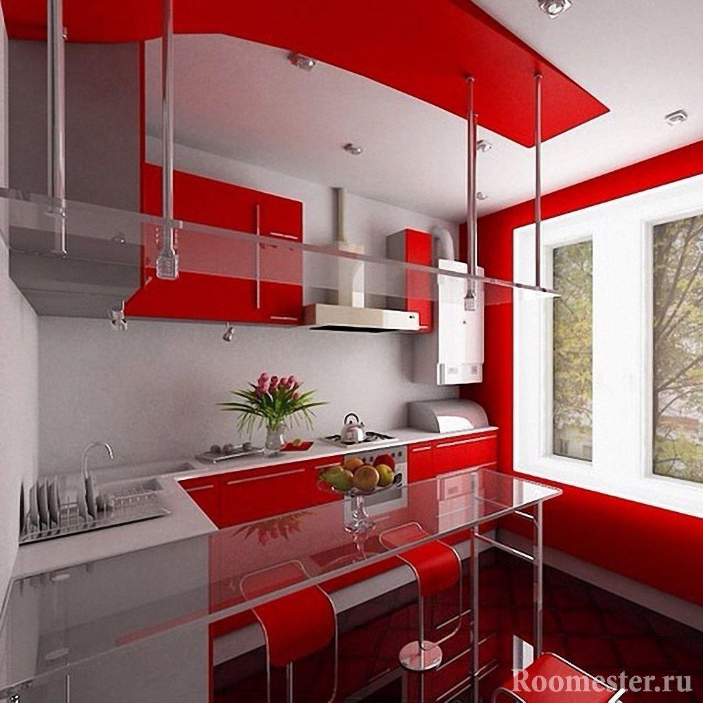 Кухня с красным интерьером