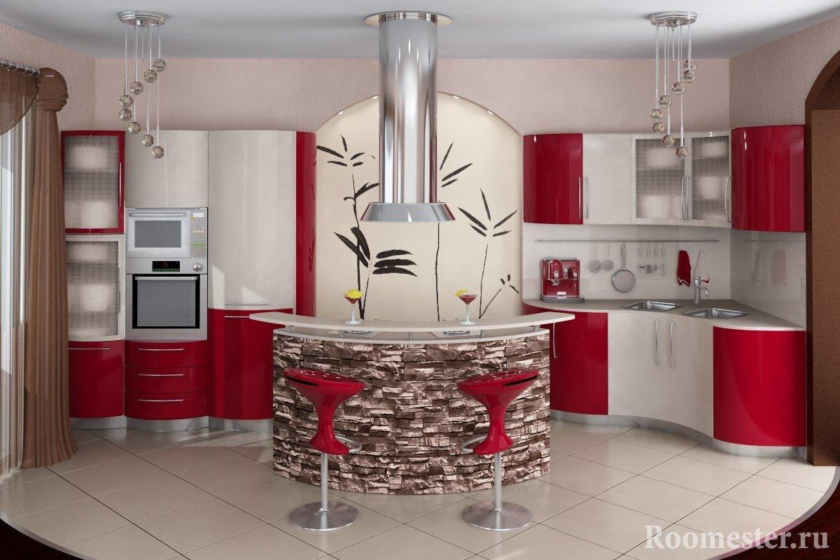 Красно-белый интерьер кухни