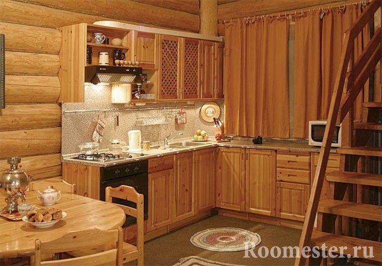 Дизайн кухни деревянного дома своими руками 529
