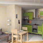 Зеленая мебель на кухне
