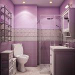 Фиолетовый интерьер ванной