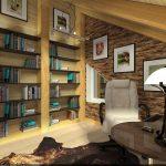 Полки с книгами напротив стола