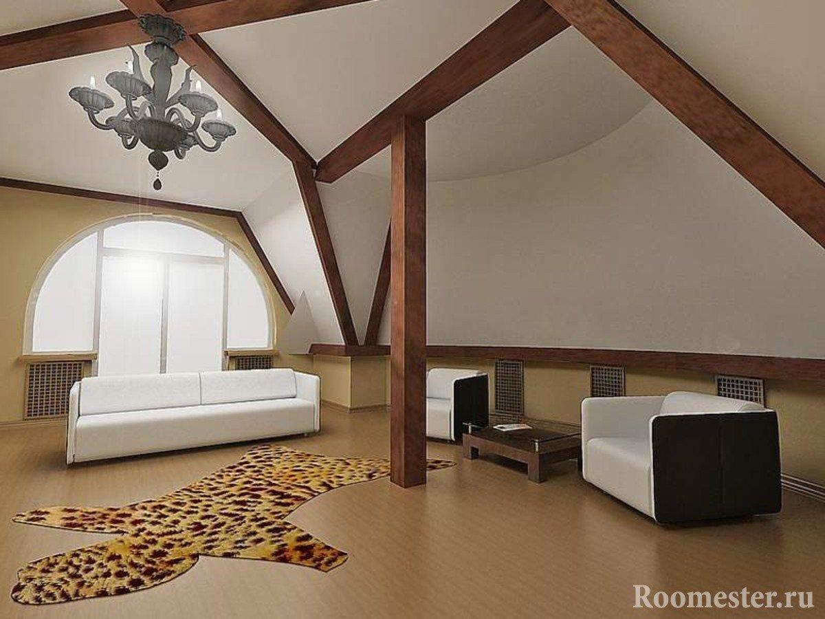 Шкура на полу перед диваном и креслами