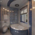 Сине-белый дизайн ванной