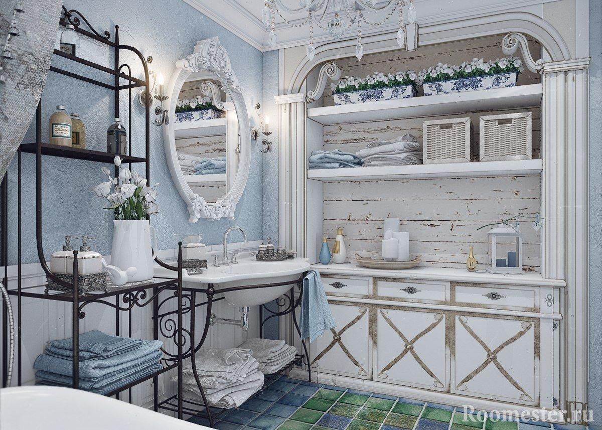Состаренная мебель в ванной
