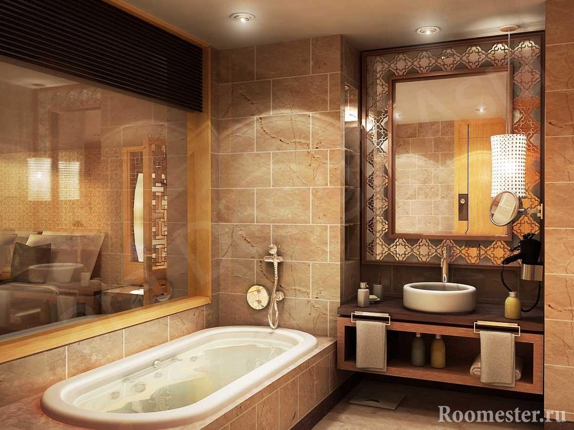 Плитка под камень в ванной