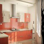 Розово-бежевая мебель на кухне
