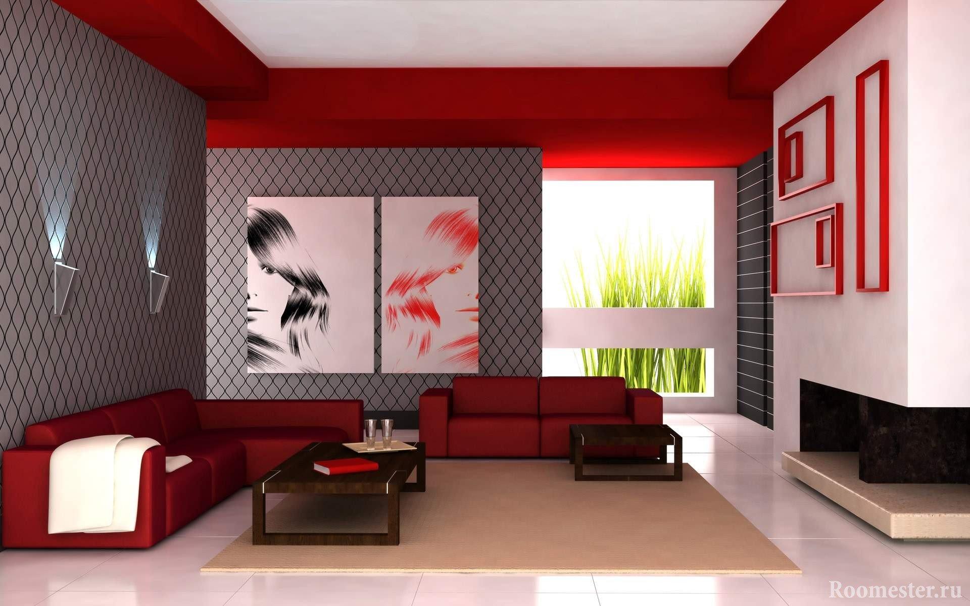Сочетание белого, красного и серого цветов в гостиной