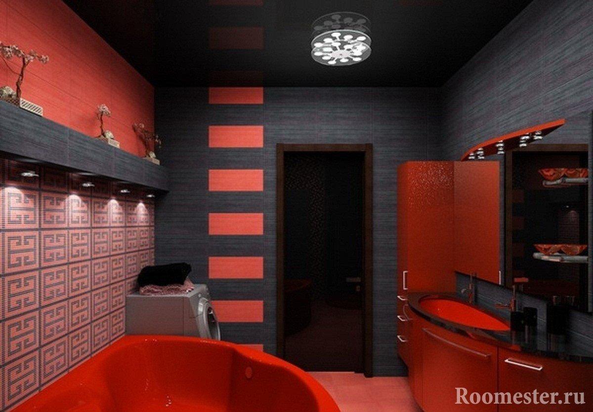 Дизайн ванной комнаты в черно белом тоне