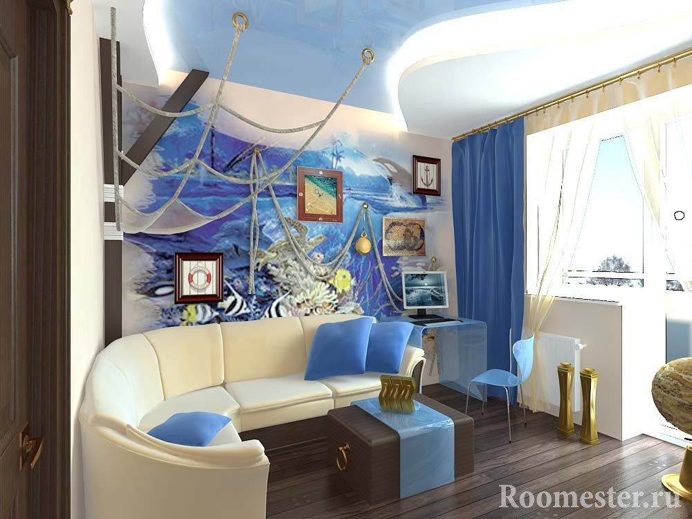 Морской пейзаж на стене в гостиной