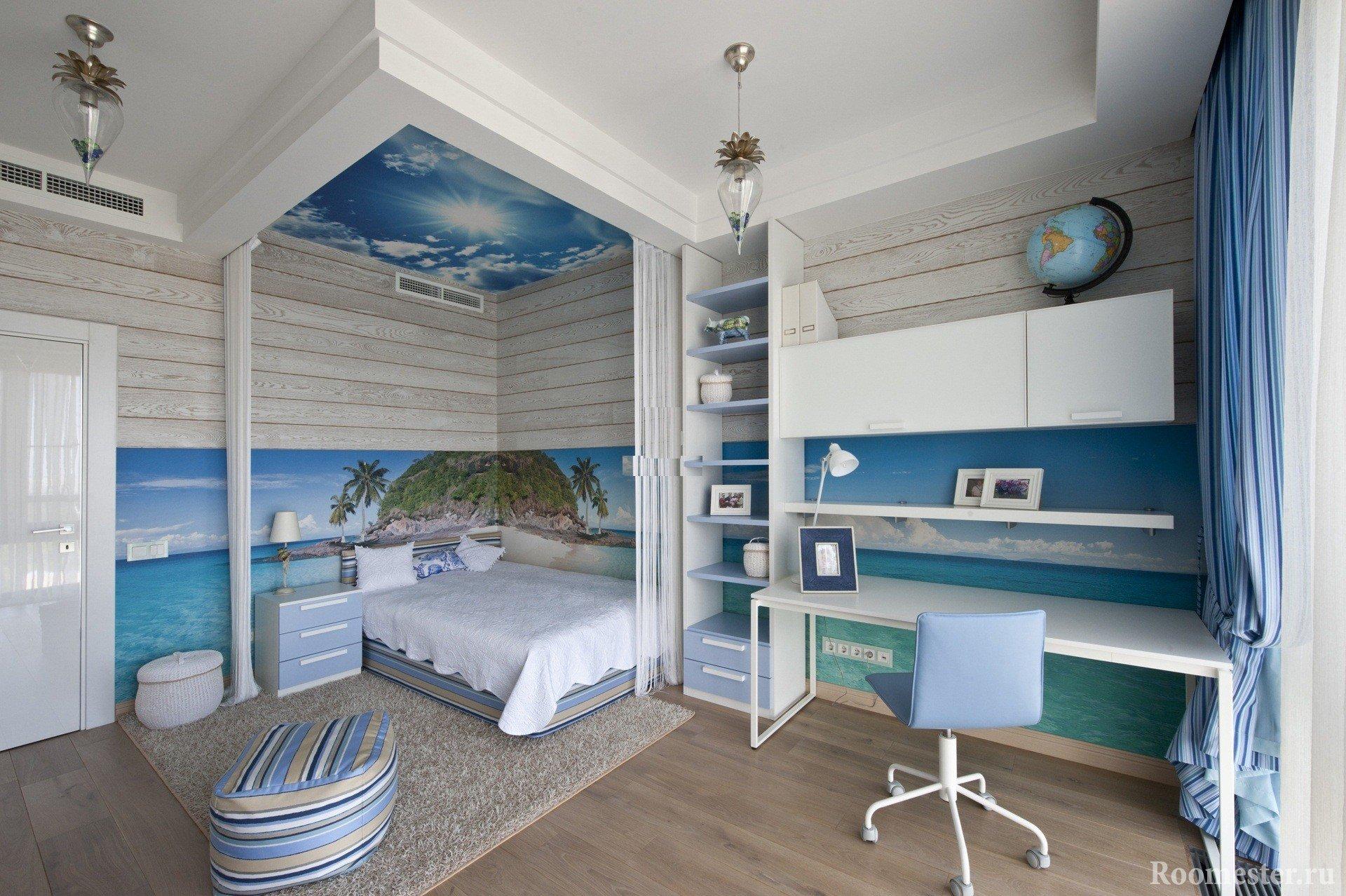 Интересное оформление спальни