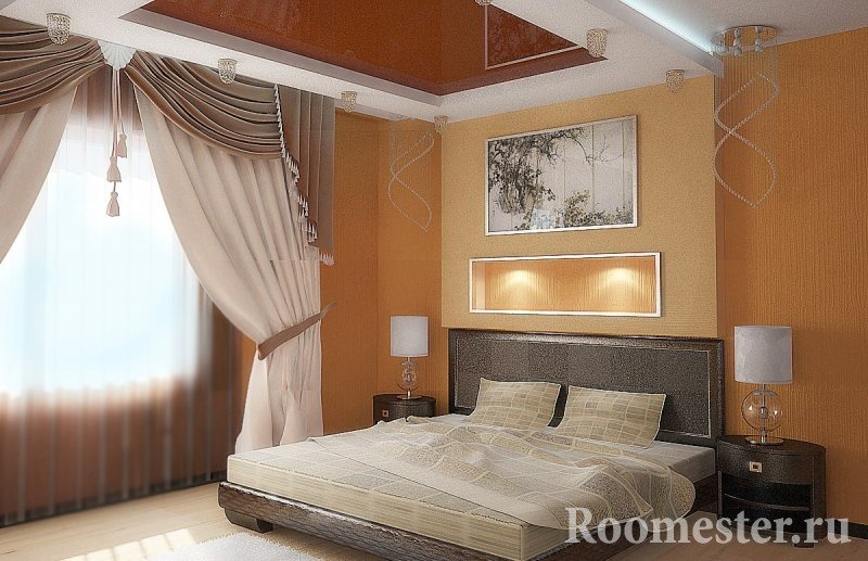 Потолок с подсветкой в спальне