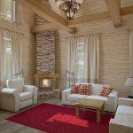 Декоративный камин и белая мебель в гостиной