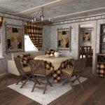 Скатерть, подушки и шторы одинакового дизайна