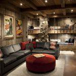 Дизайн комнаты из камня и дерева