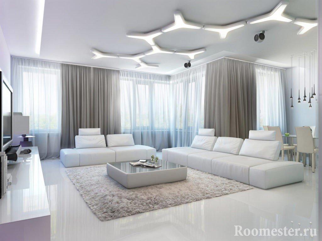 Необычное освещение на потолке