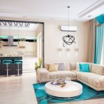 Бежево-бирюзовый интерьер гостиной