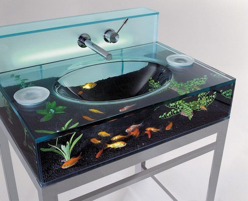 Раковина с аквариумом