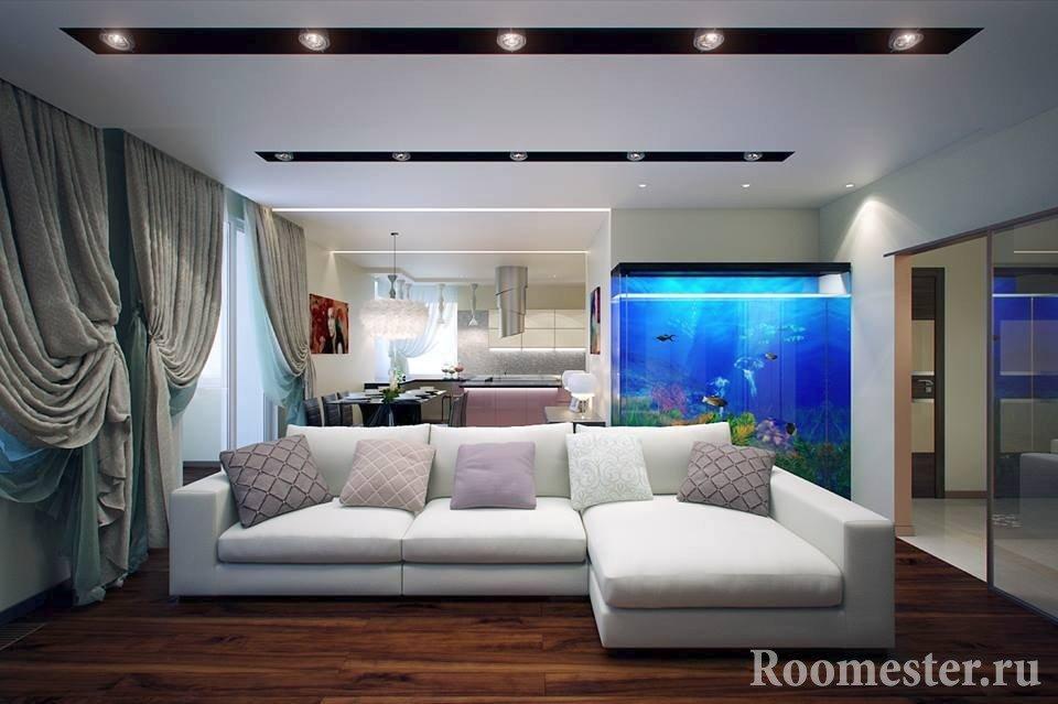 Красивый интерьер гостиной с аквариумом