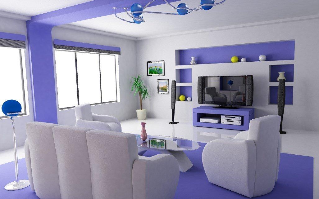 Фиолетовый интерьер с белой мебелью
