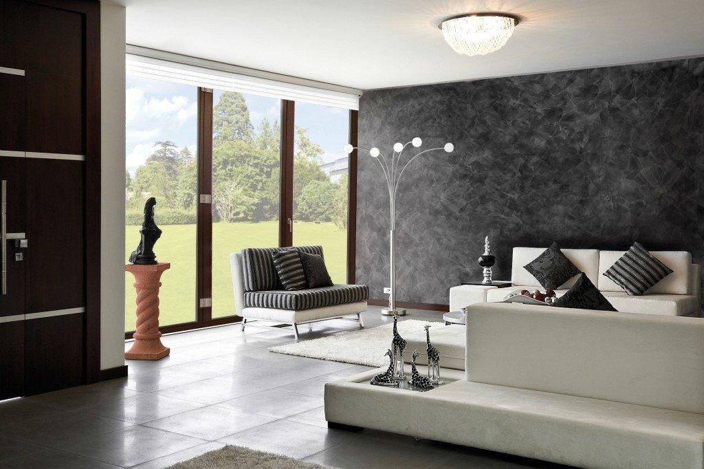 Декоративная штукатурка и белая мебель в гостиной