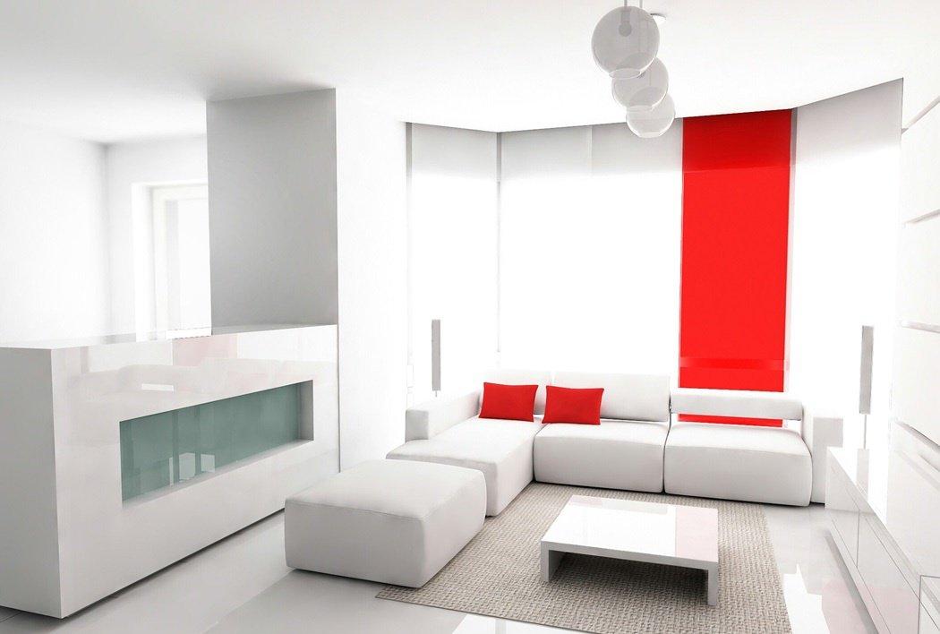 Интерьер в стиле минимализм с белой мебелью