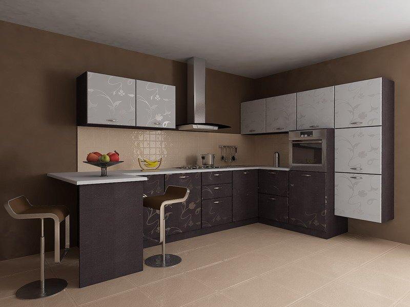 Кофейные стены в интерьере кухни