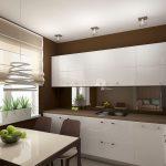 Темные стены и светлая мебель на кухне
