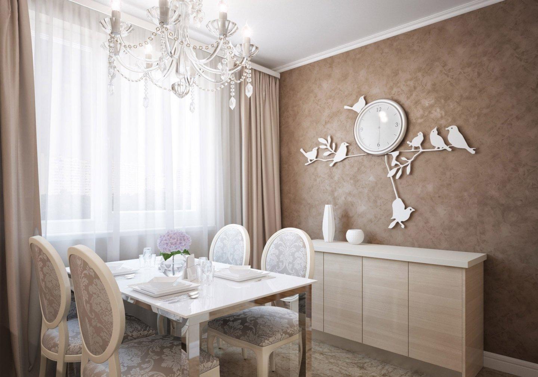 Белые часы с птицами на кофейной стене в столовой