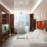 Белый диван и стеклянный столик напротив телевизора