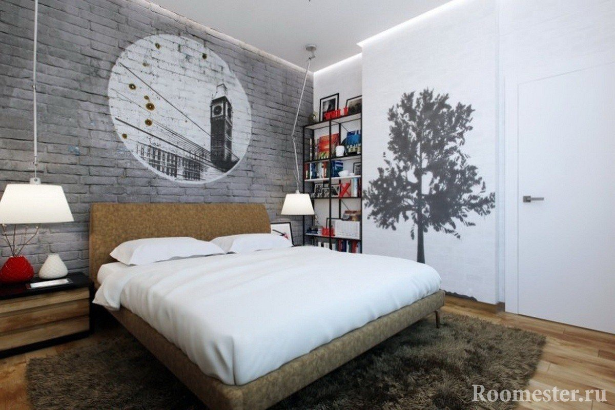Дерево на стене в спальне