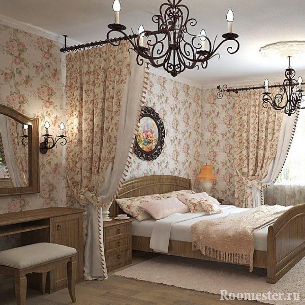 Люстры со свечами в спальне