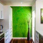 Зеленая стена в белом интерьере кухни