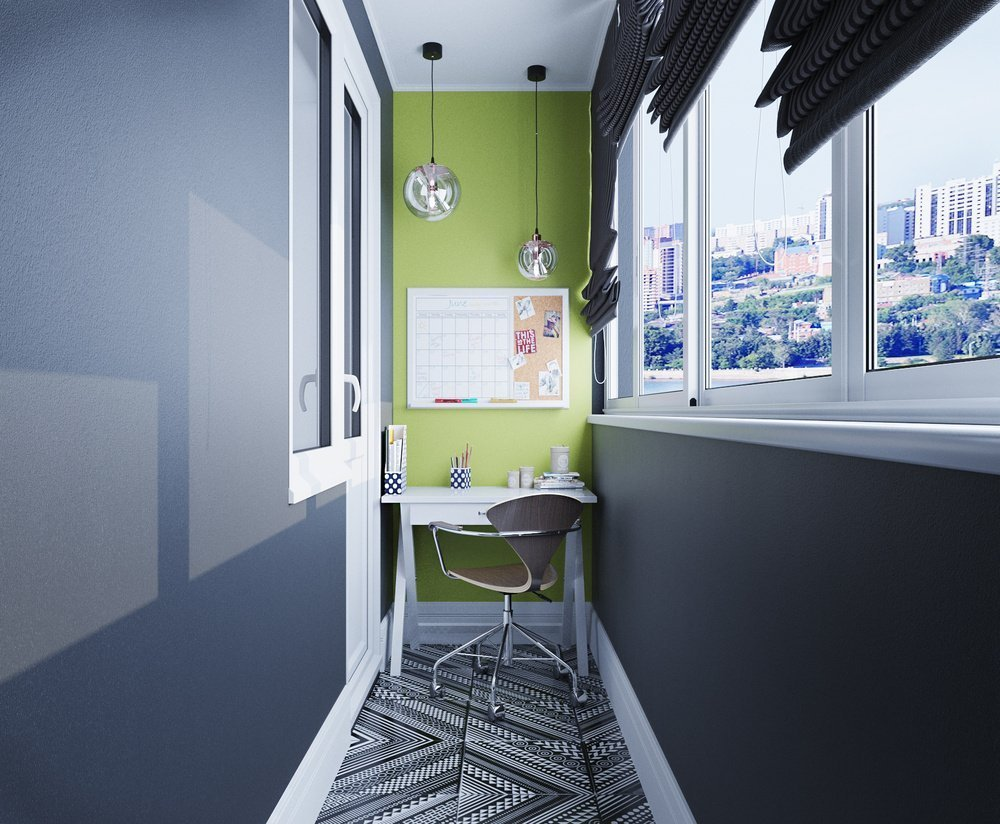 Интерьер балкона в стиле хай-тек