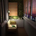 Светильник над диванчиком на балконе
