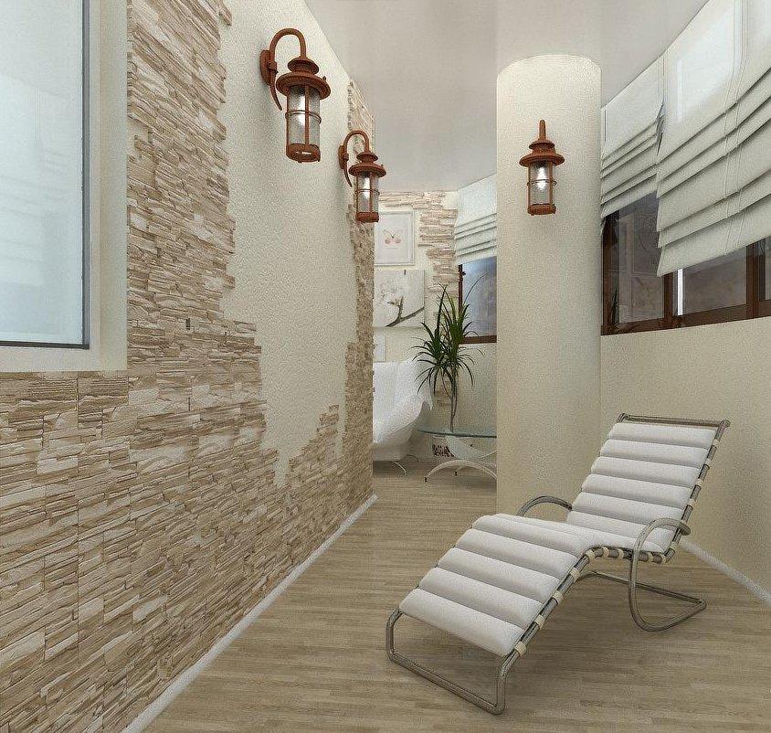 Красивые светильники в интерьере балкона