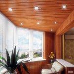 Точечные светильники в потолке балкона