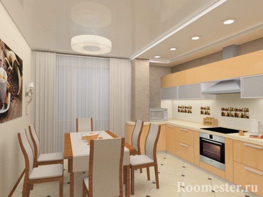 Бежевая мебель на кухне