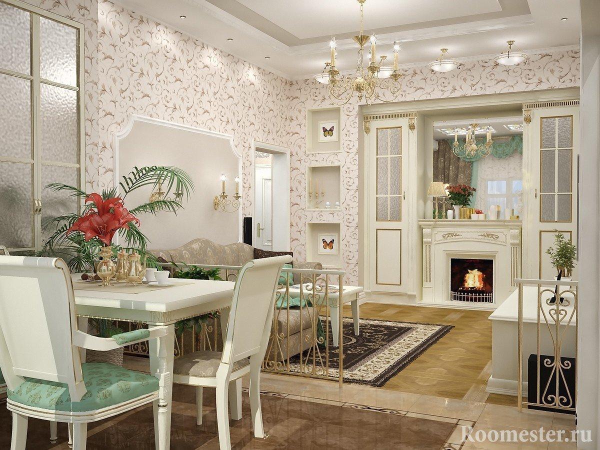 Зонирование комнаты на гостиную с камином и столовую