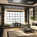 Светлая гостиная в японском стиле