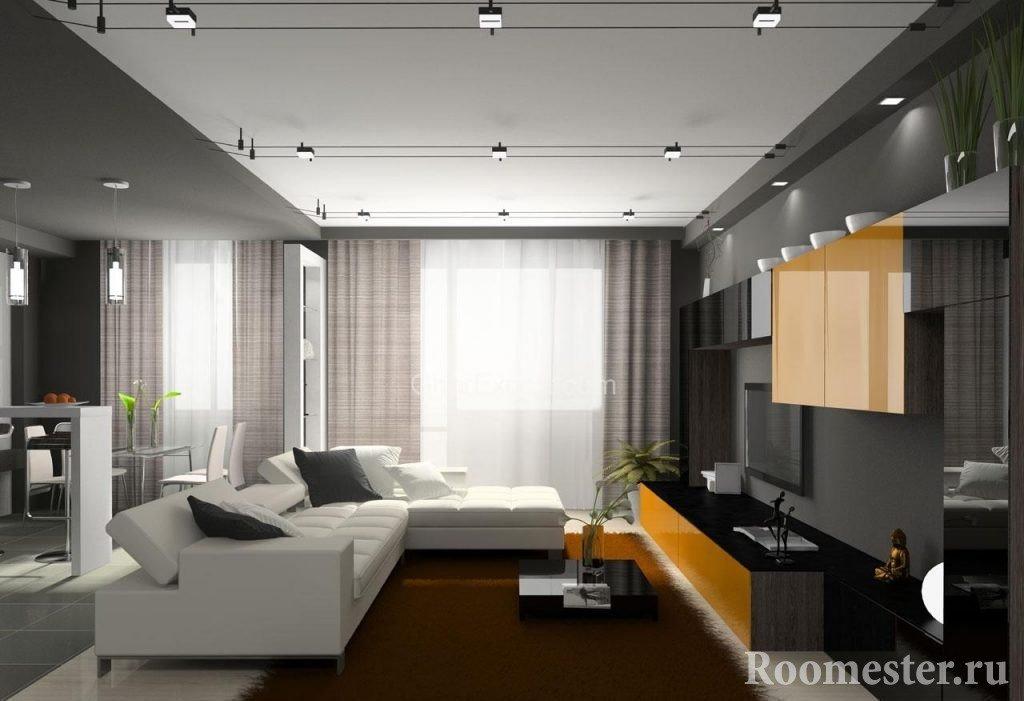 Белый диван и коричневый ковер в гостиной
