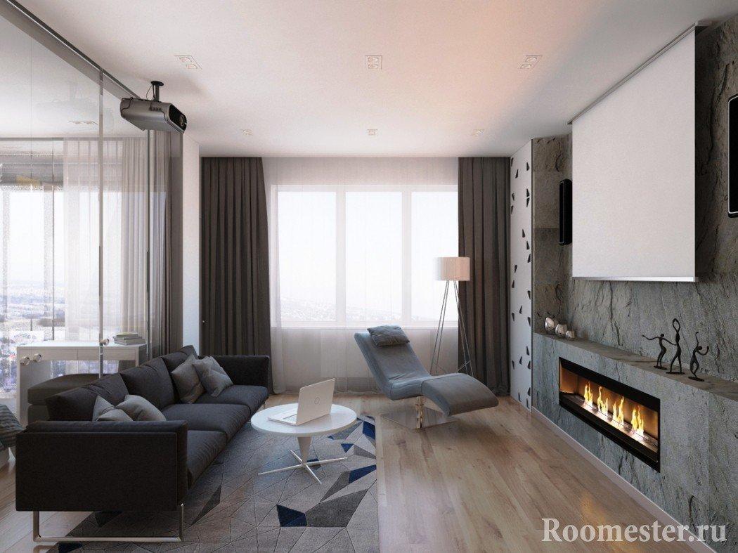 Однокомнатная квартира дизайн камин