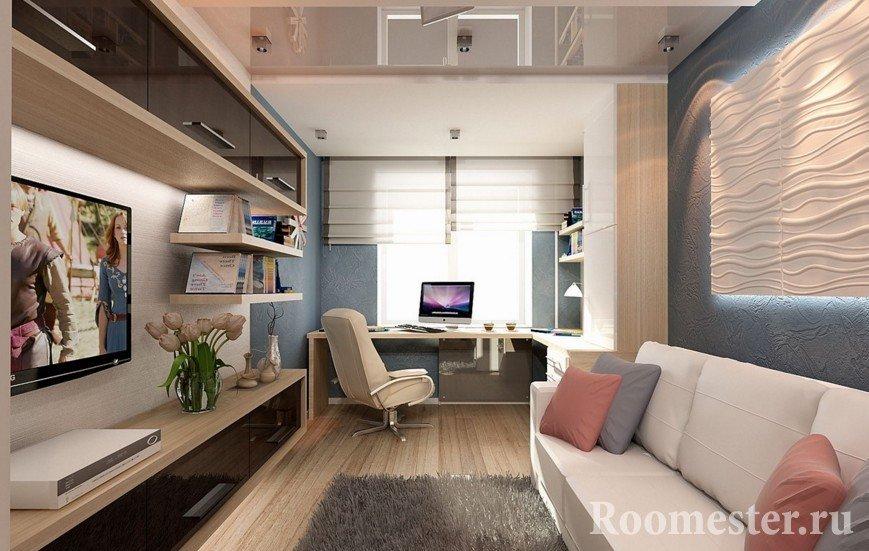Телевизор и полки напротив дивана