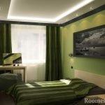 Фисташковый интерьер спальни