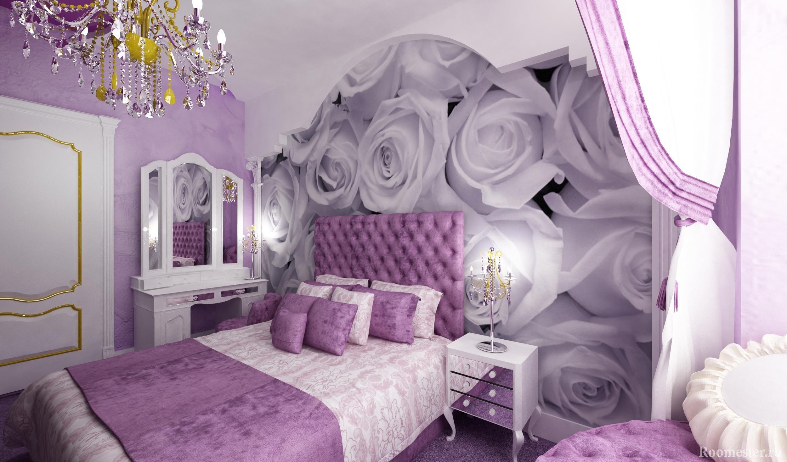 Розы на стене спальни