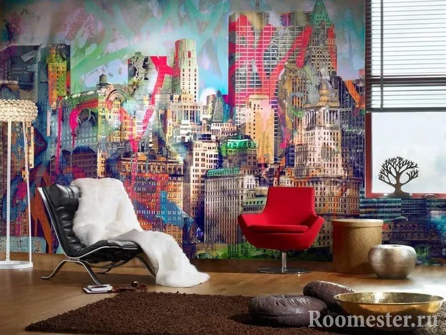 Цветные граффити на стене в комнате