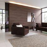 Стена с подсветкой в гостиной